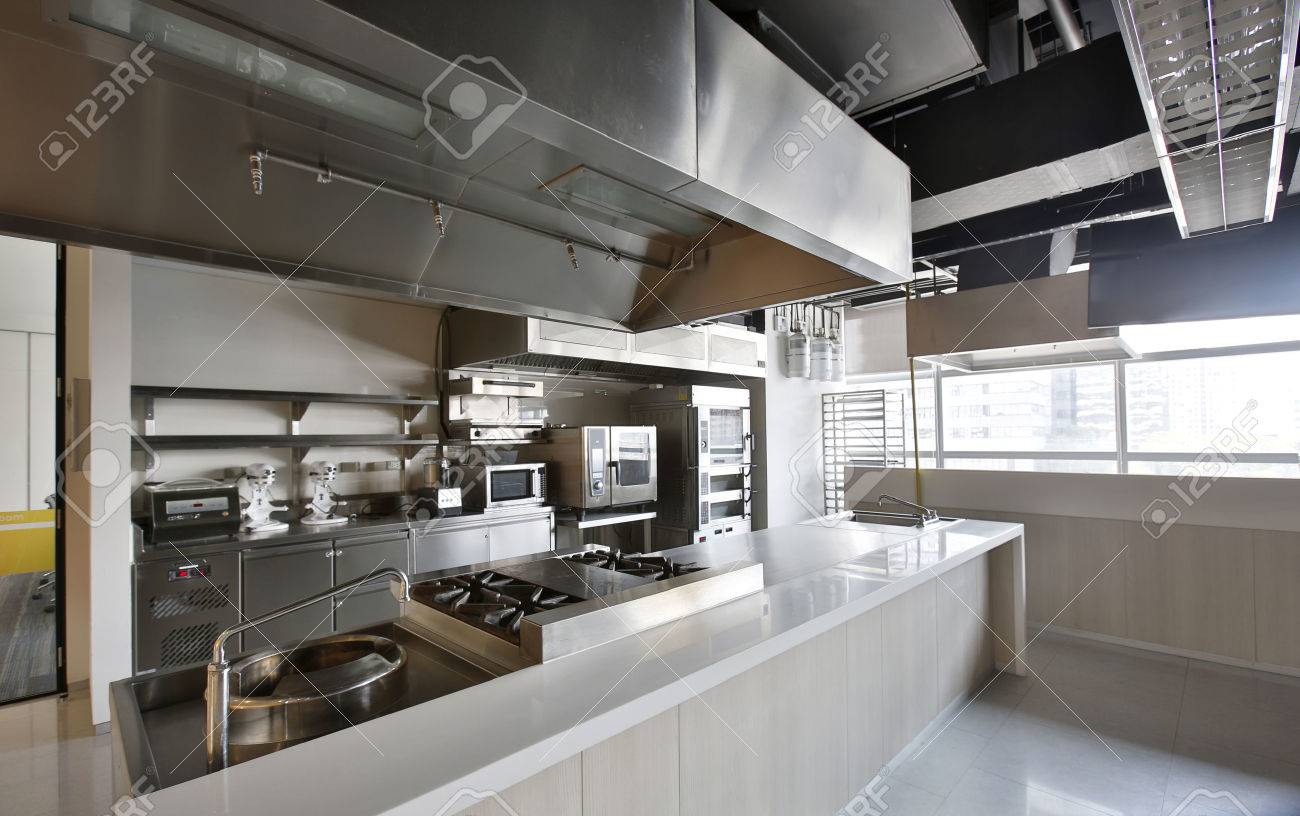 Work Surface And Kitchen Equipment In Professional Kitchen Stock ...