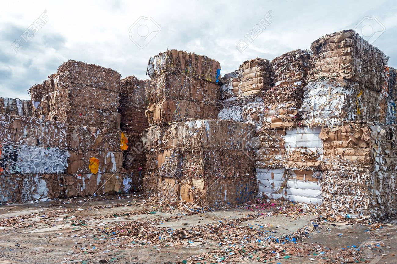Waste paper recycling Pile of pressed waste paper bales in the