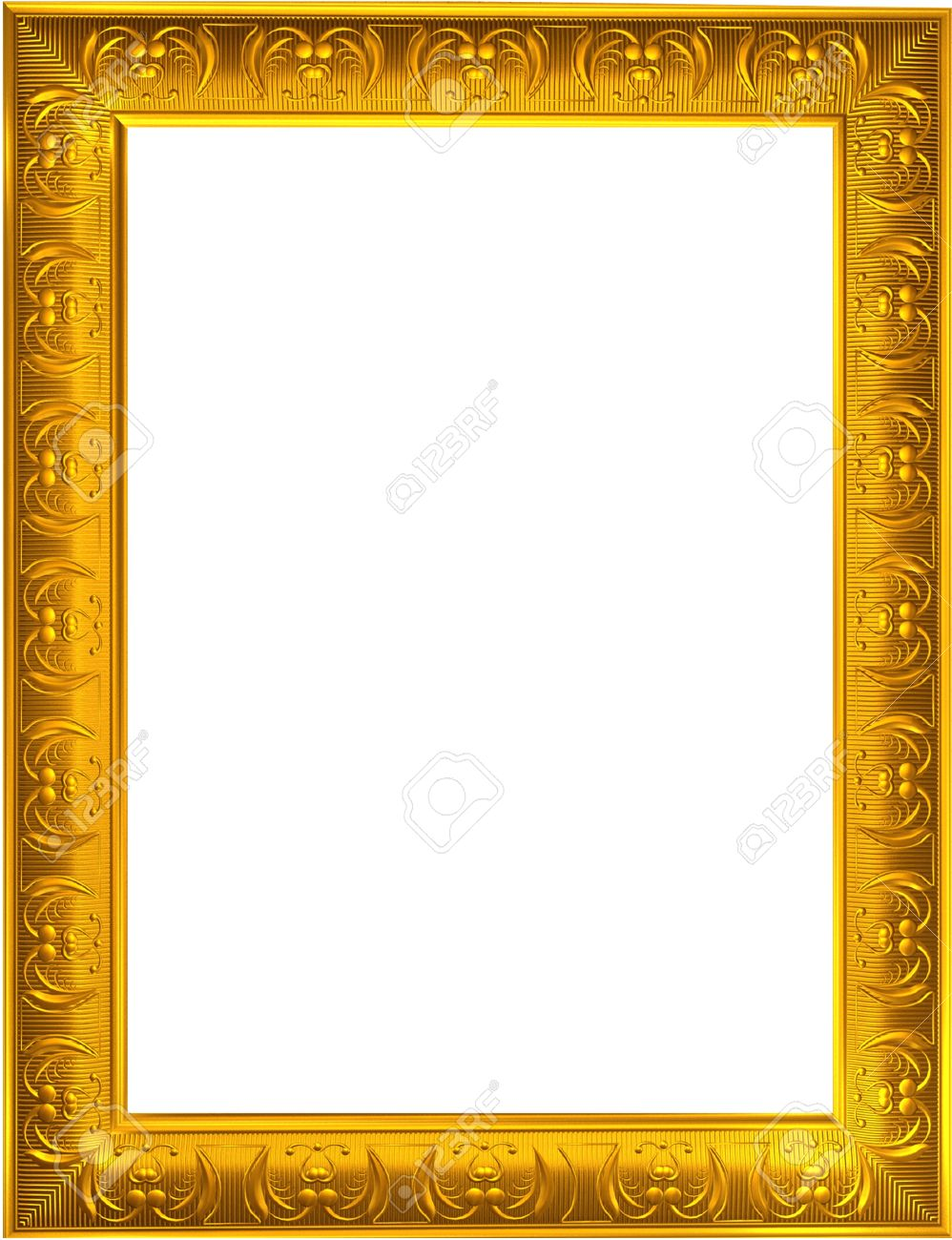 Photo design of gold photo frame on white background