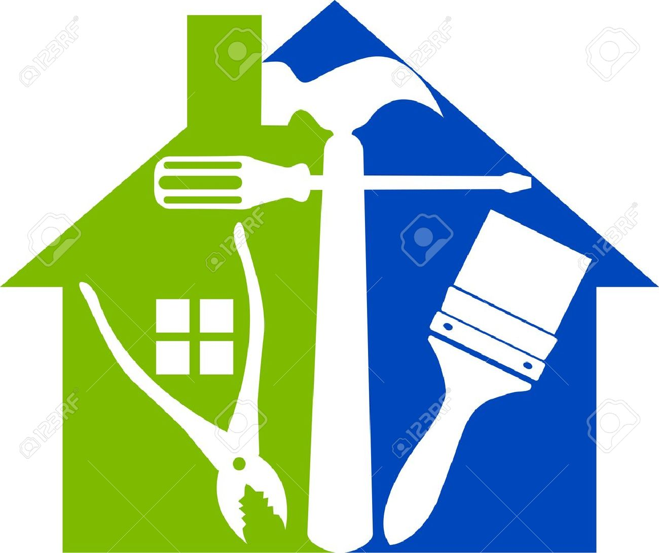 home repair illustration art of a home tools with isolated background illustration