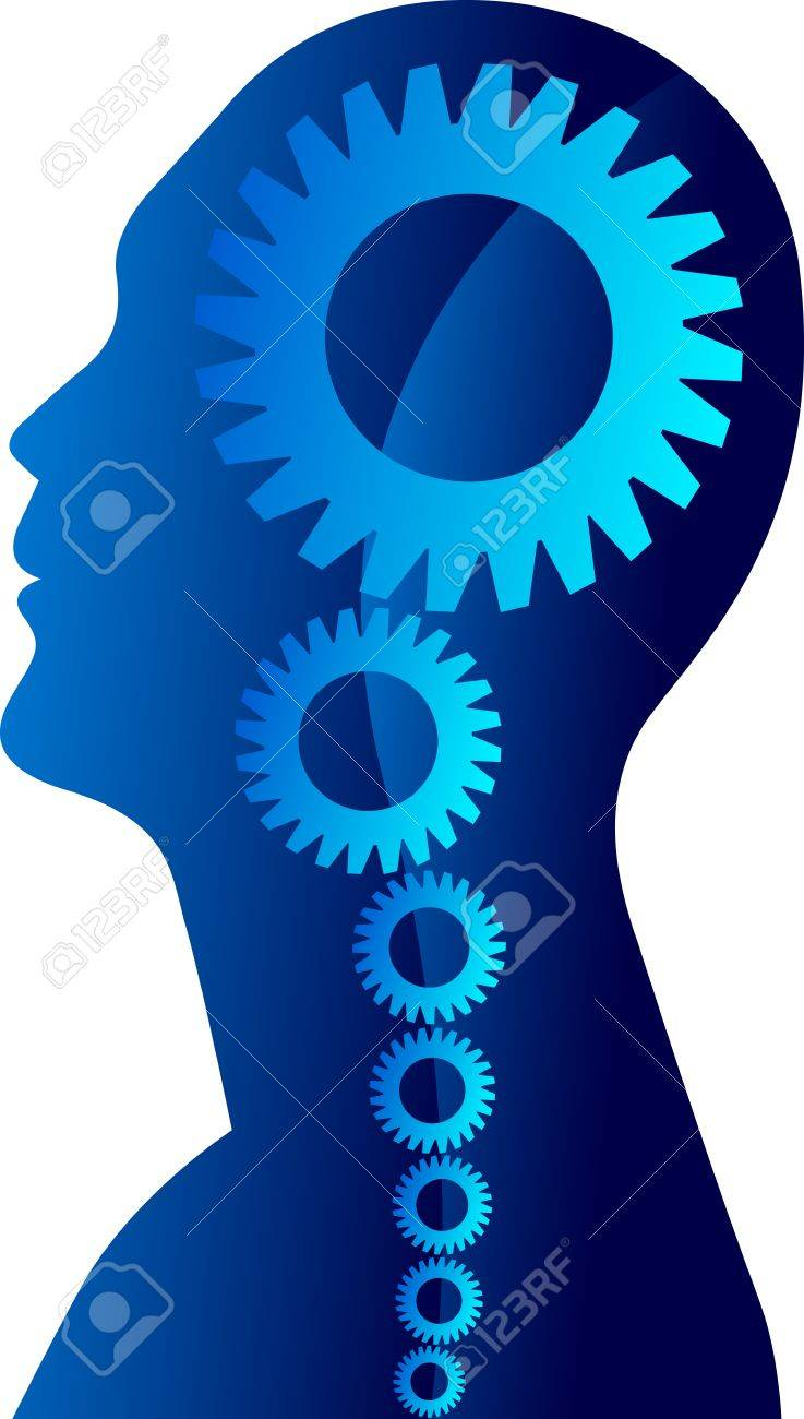 Illustration drawing of a mind gear with white background Stock Vector - 21949794