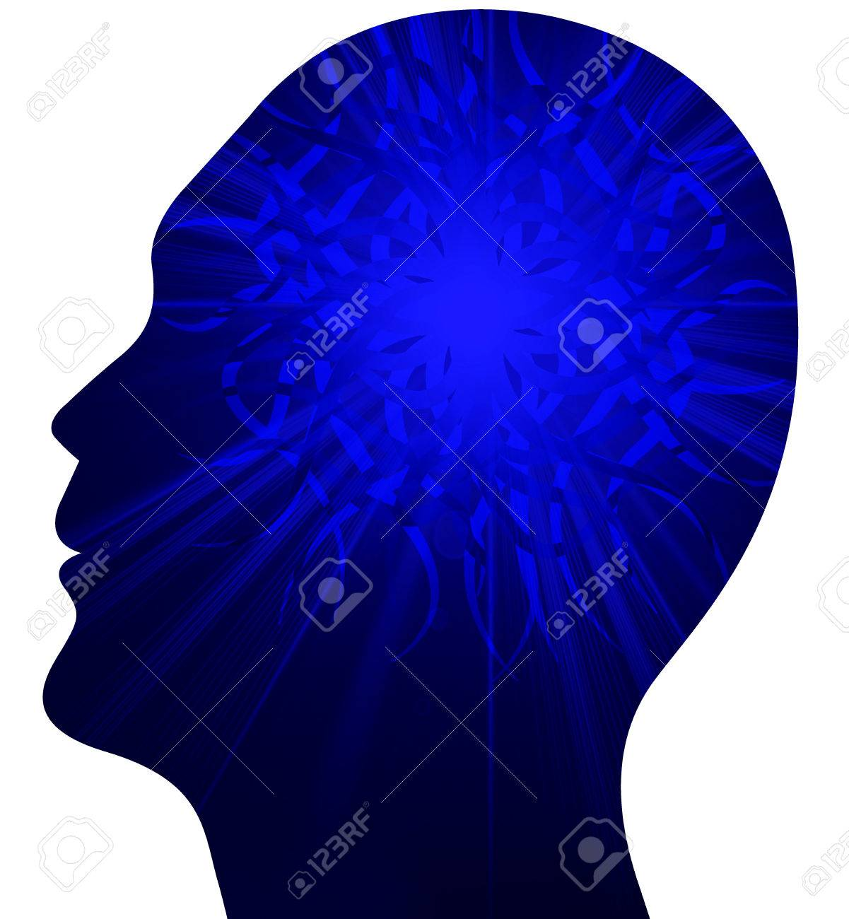 Illustration art of a human power brain with isolated background Stock Illustration - 24058721