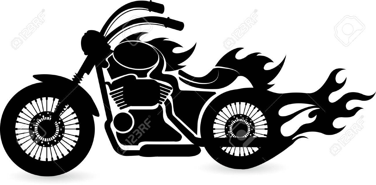 Motorcycle clip art with flames - Motorcycle Silhouette Illustration Art Of A Speed Bike With Isolated Background Illustration
