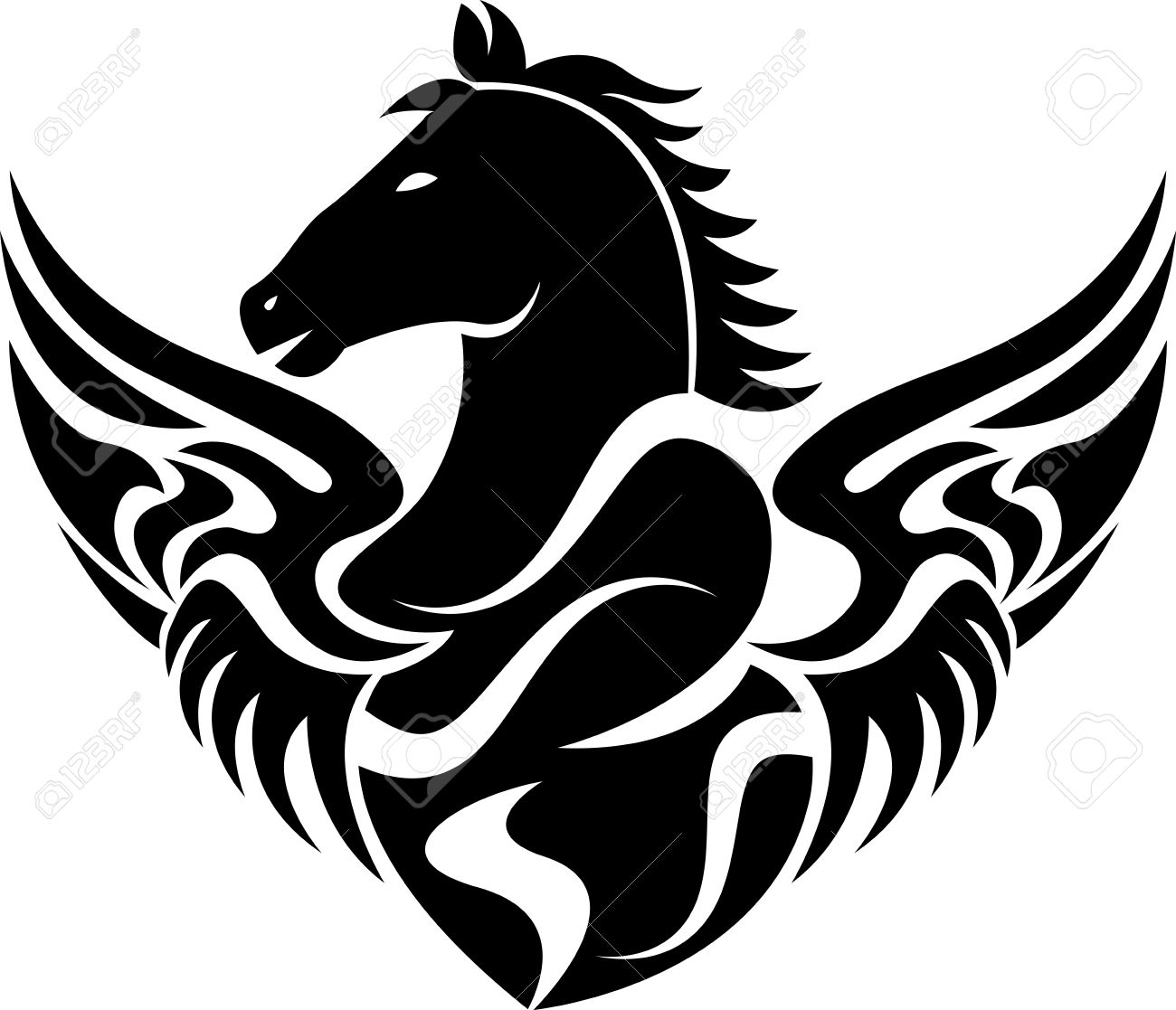 illustration art of a fly horse icon with isolated background