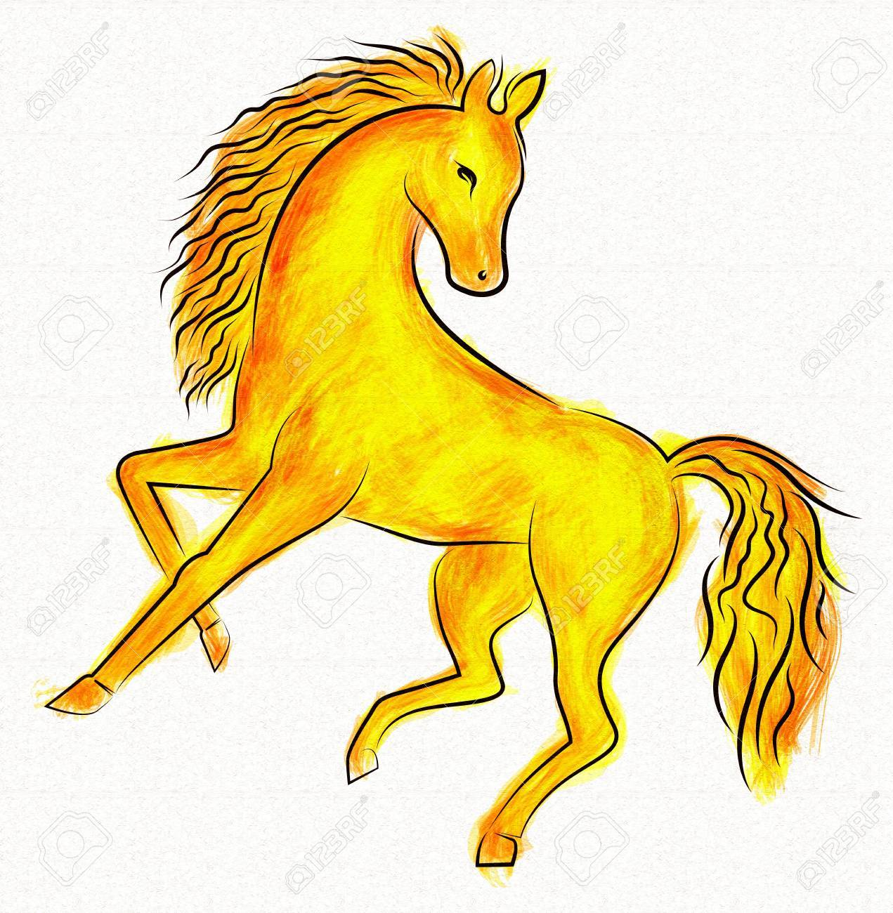Digital Painting Golden Horse Design With Isolated Background Stock Photo Picture And Royalty Free Image Image 55592908