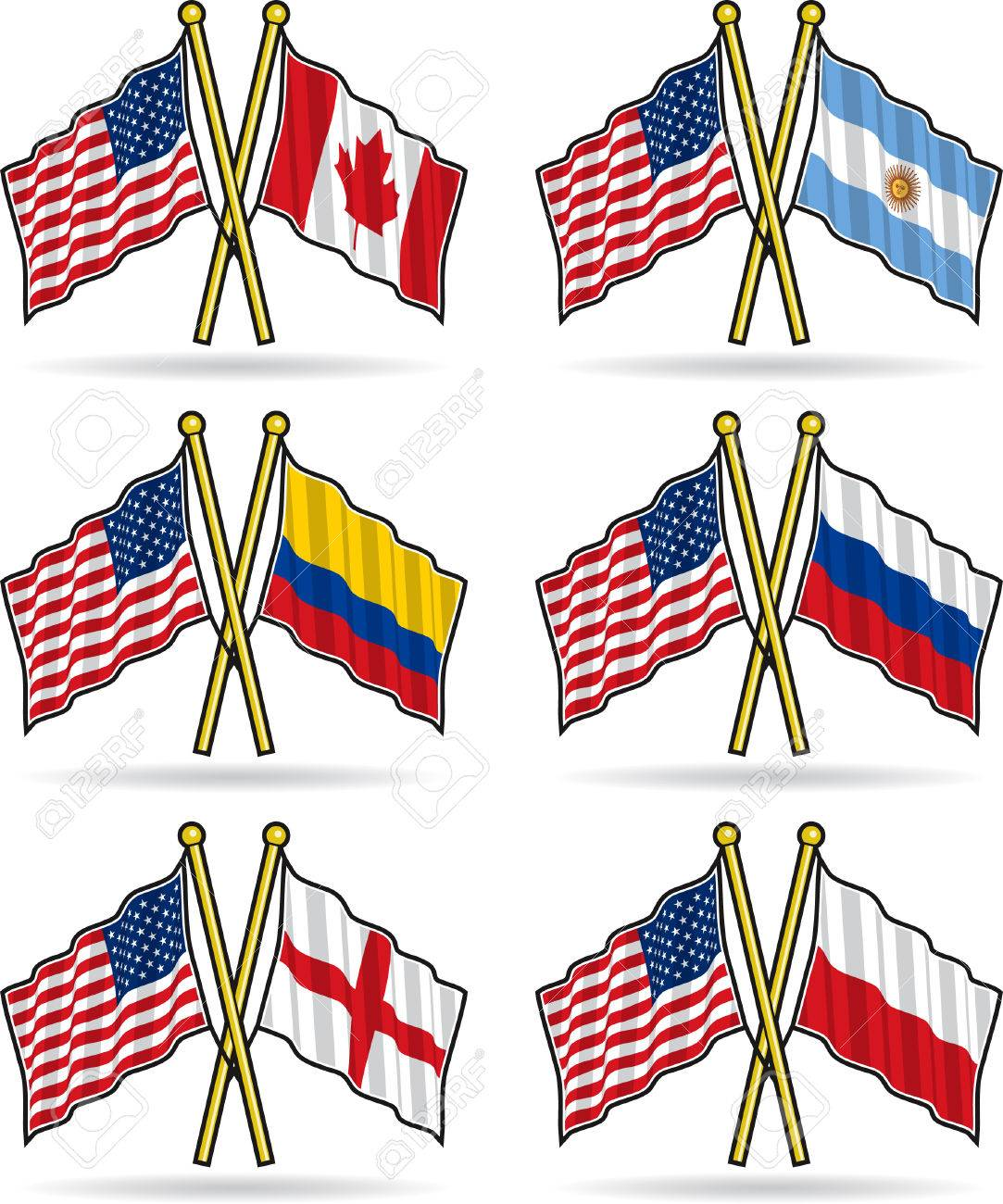 American Friendship Flags Stock Vector - 6975534