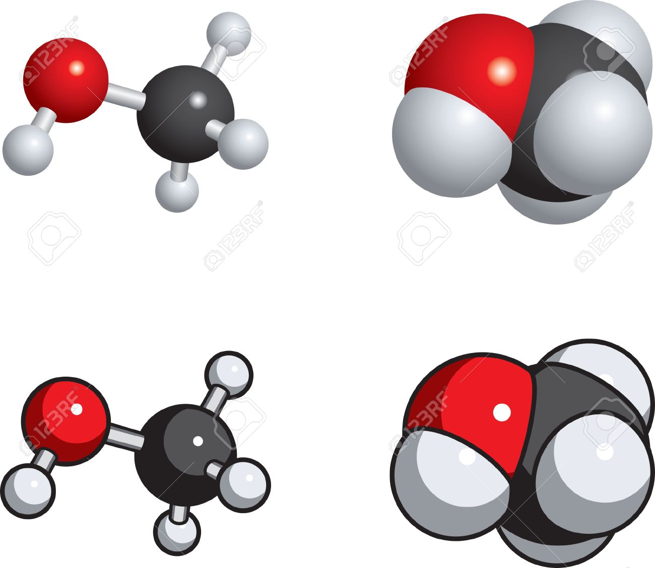 Space fill, ball and stick models of methanol. Stock Vector - 9355990