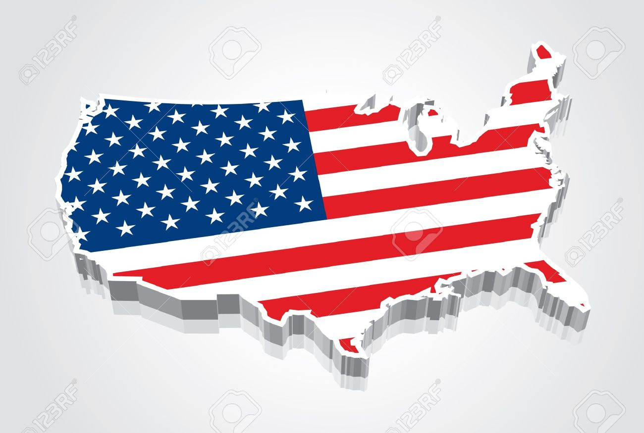 D Flag Map Of The United States USA Royalty Free Cliparts - Us map 3d