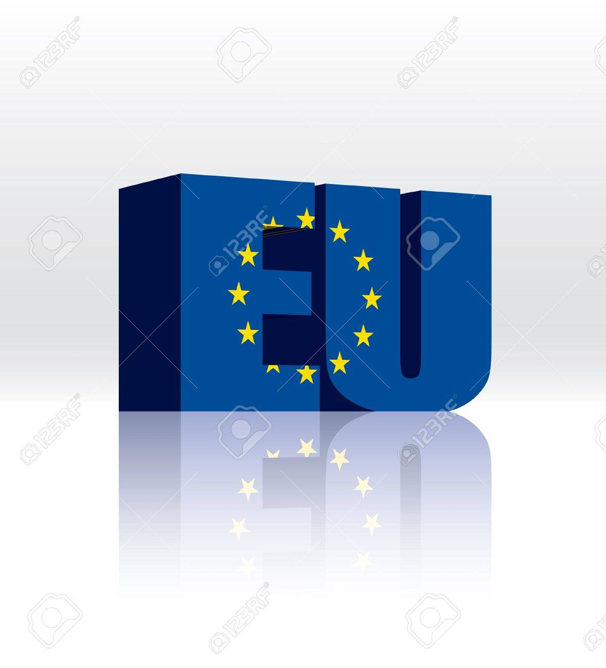 3D EU (European Union) Word Text Flag Stock Vector - 16173420