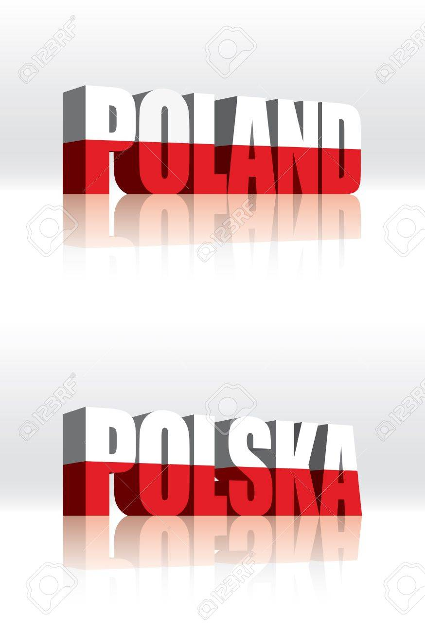 3D Vector Poland (Polska) Word Text Flag Stock Vector - 16272496