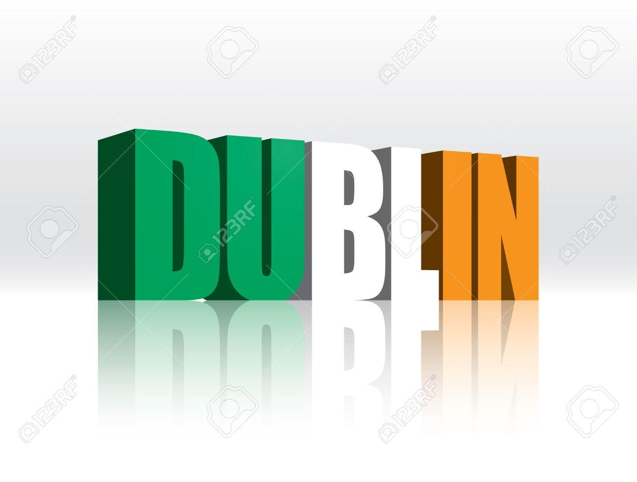 3d vector dublin ireland word text flag royalty free cliparts