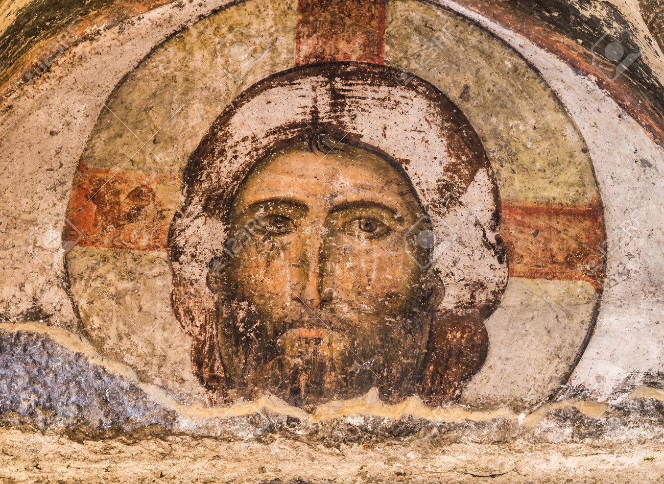 Jesus Christ, Tympanum Over The Door Of The 12th Century Church Of  Dormition In Vardzia