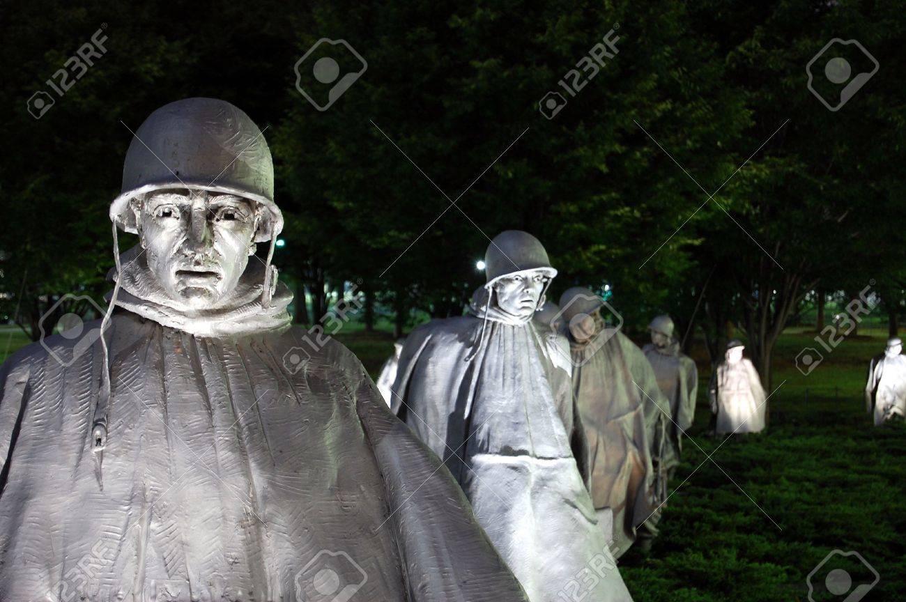 Korean War Memorial Washington DC Night Stock Photo - 5628553