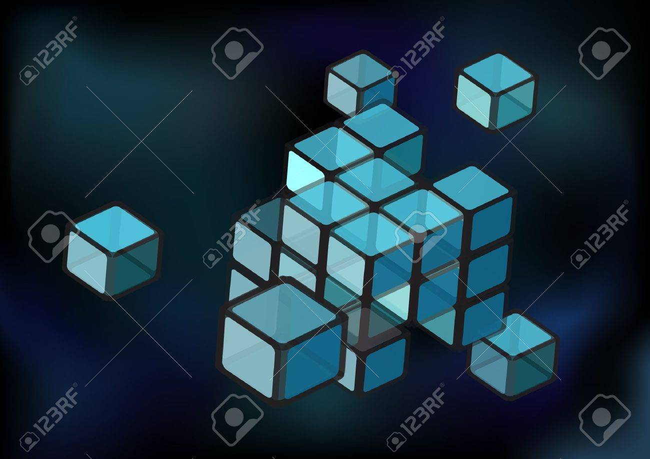Abstact background with construction of transparent cubes. EPS10 vector format Stock Vector - 9945744