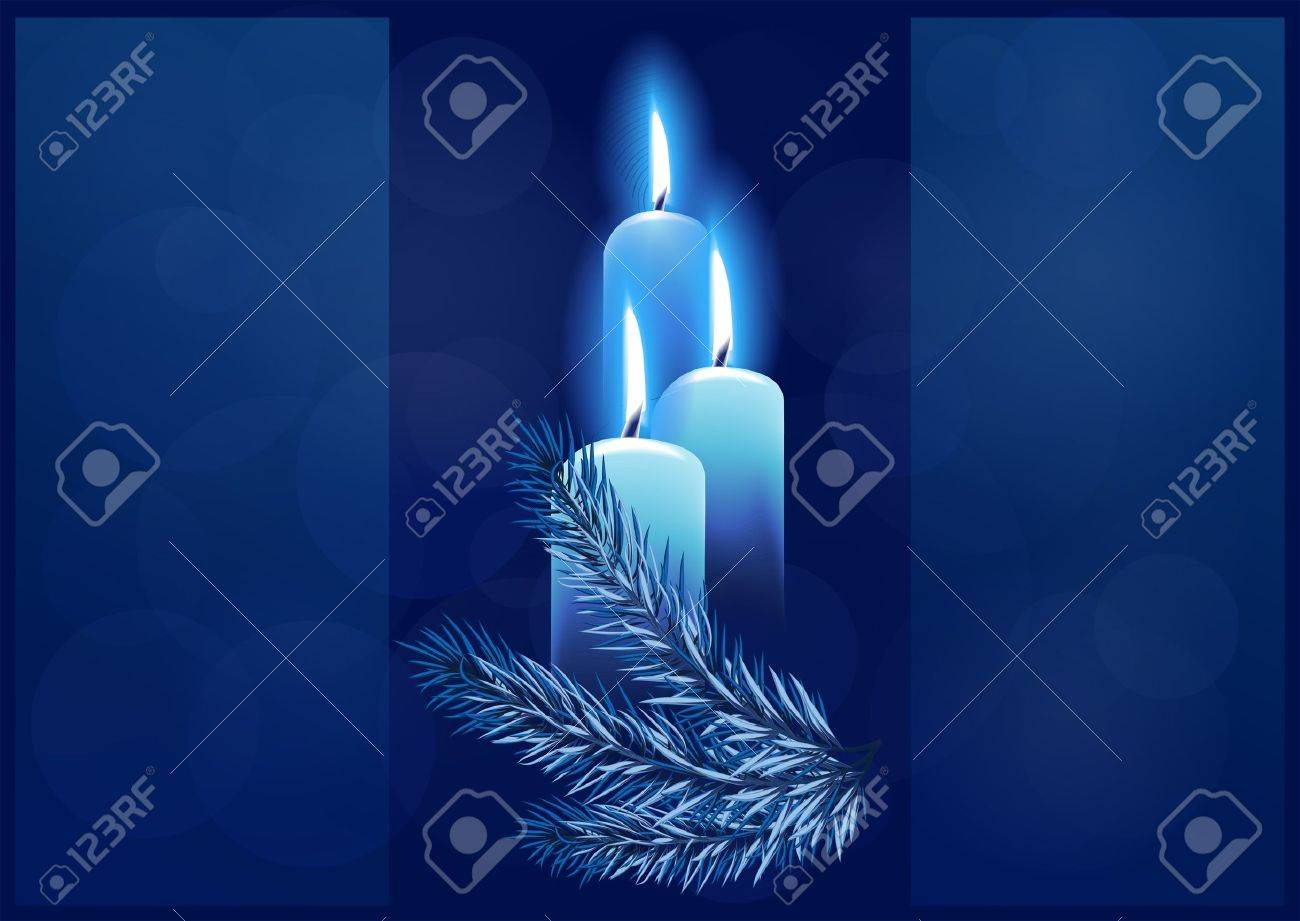 Christmas background with burning candles. Space for your text Stock Vector - 11101428