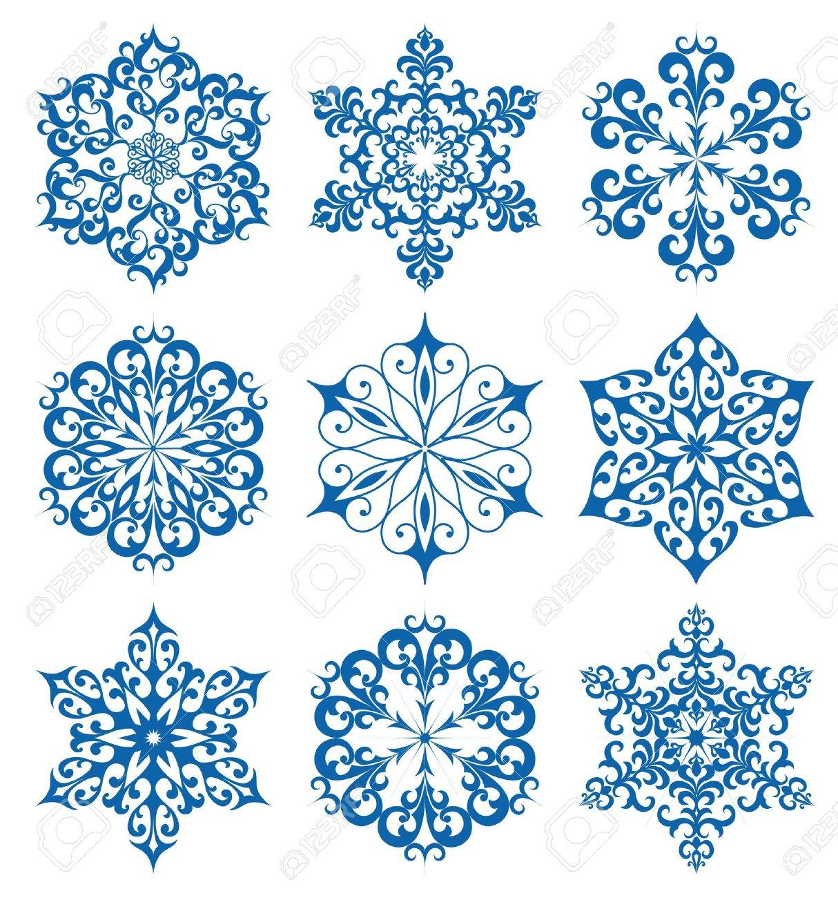 Set of snowflakes for winter design, isolated on white Stock Vector - 11225881