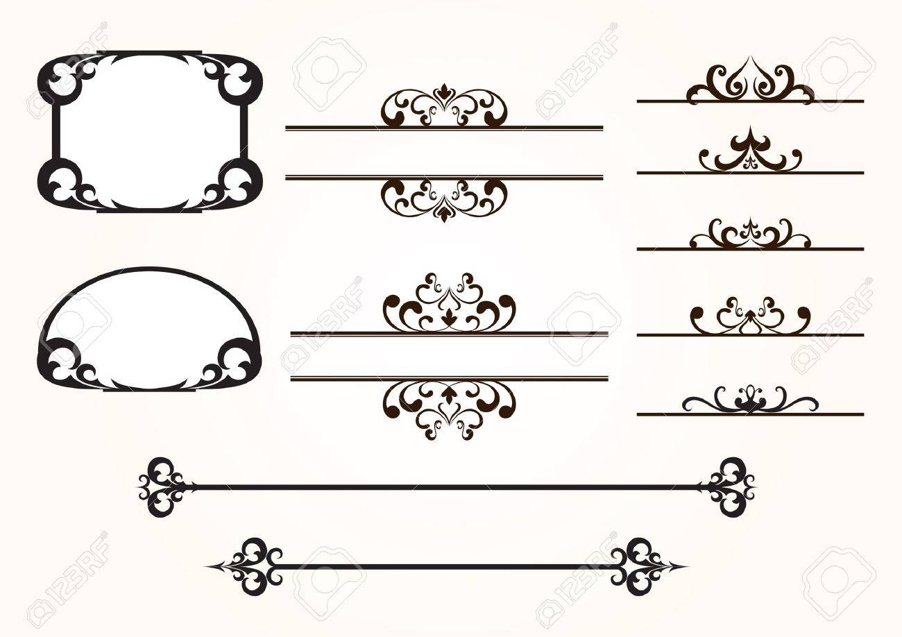set of decorative frames and design elements stock vector 12270104 - Decorative Frames