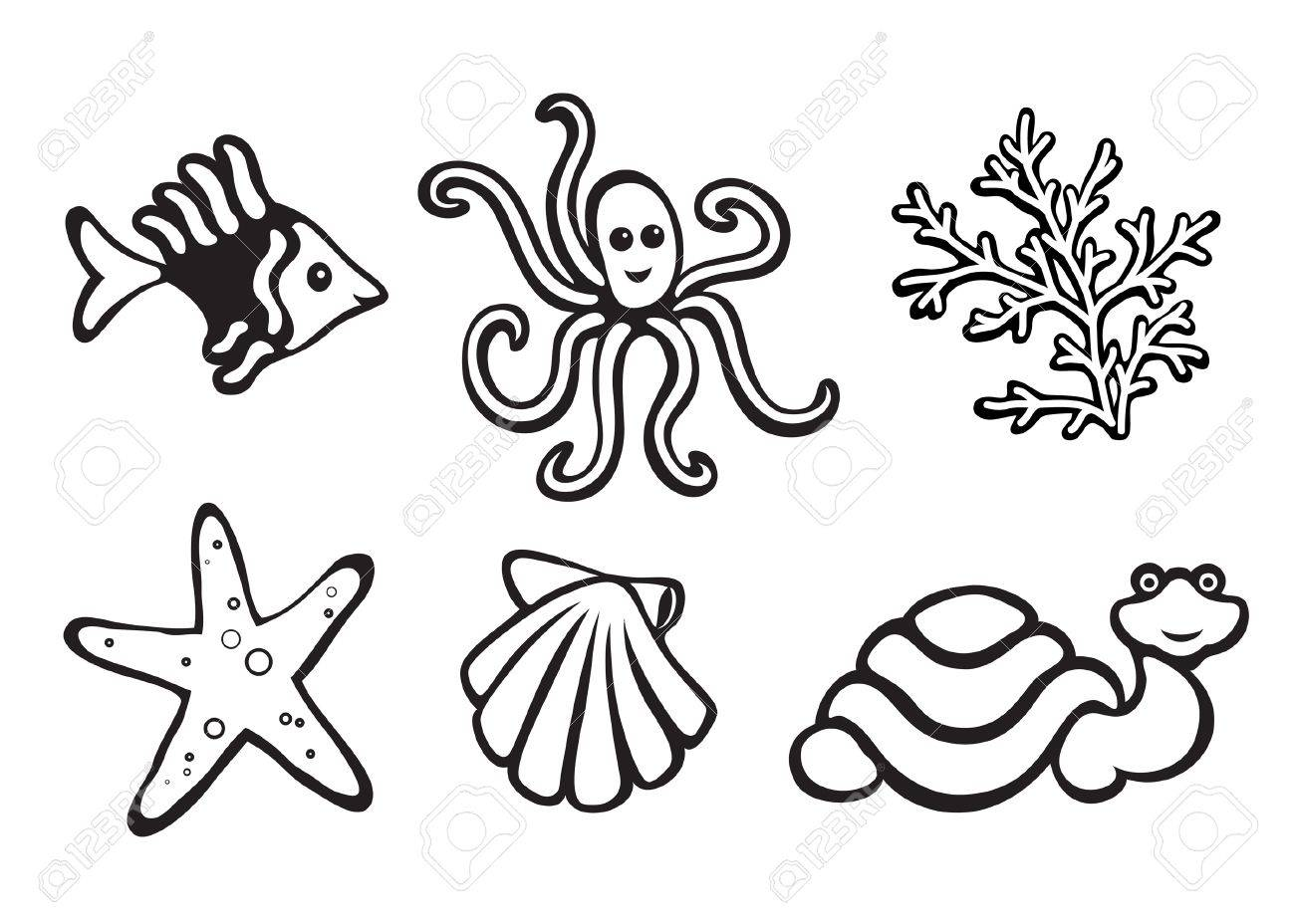 Sea animals isolated on white, set of icons Stock Vector - 14581207