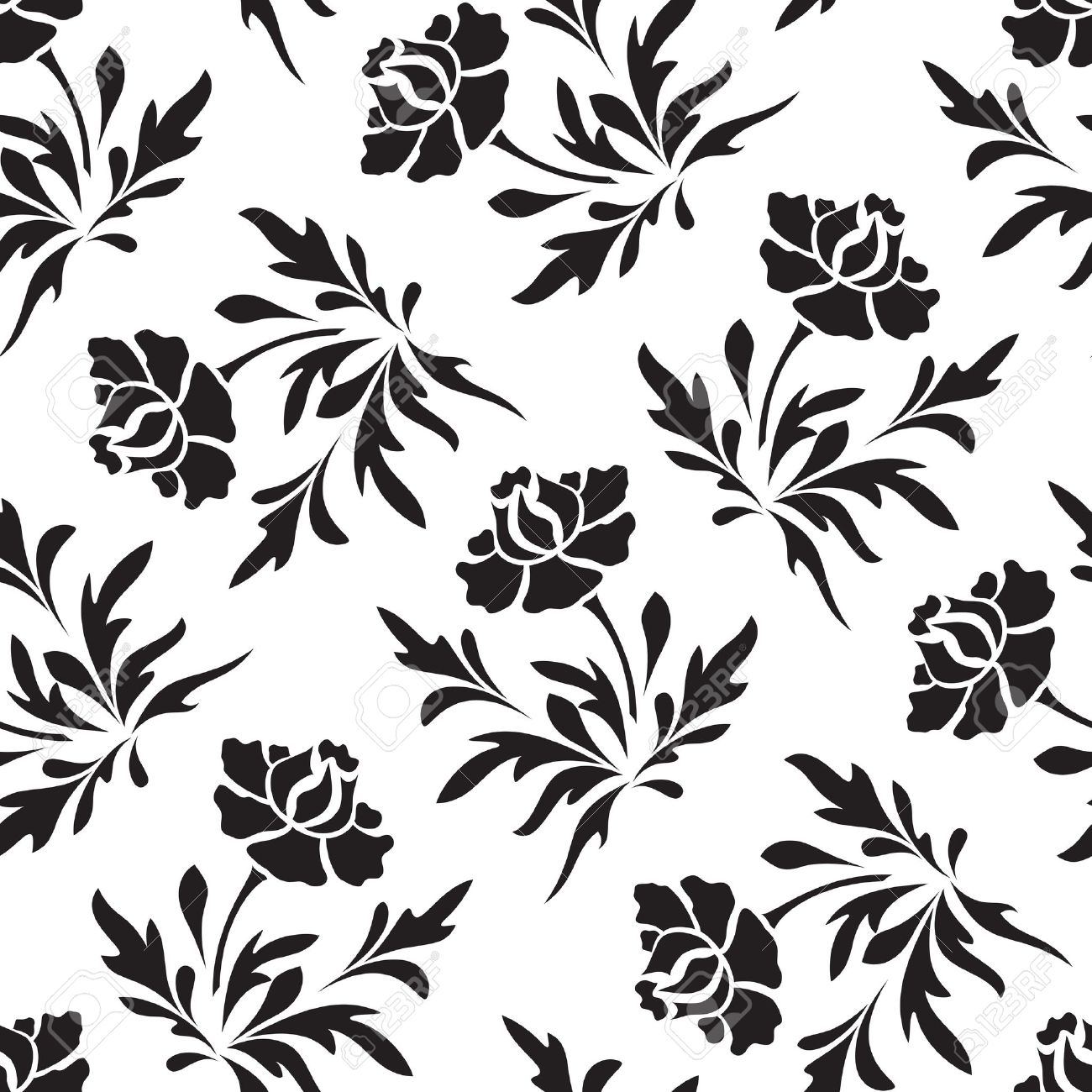 Black And White Seamless Floral Pattern Royalty Free Cliparts