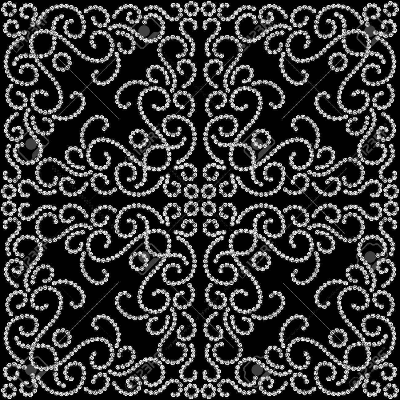 Black and white dotted seamless swirl pattern Stock Vector - 17685584
