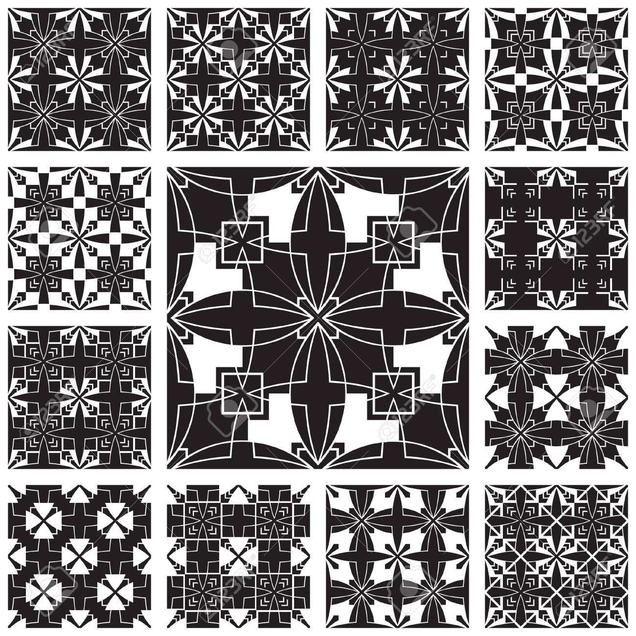 Abstract black and white seamless patterns set Stock Vector - 17685578