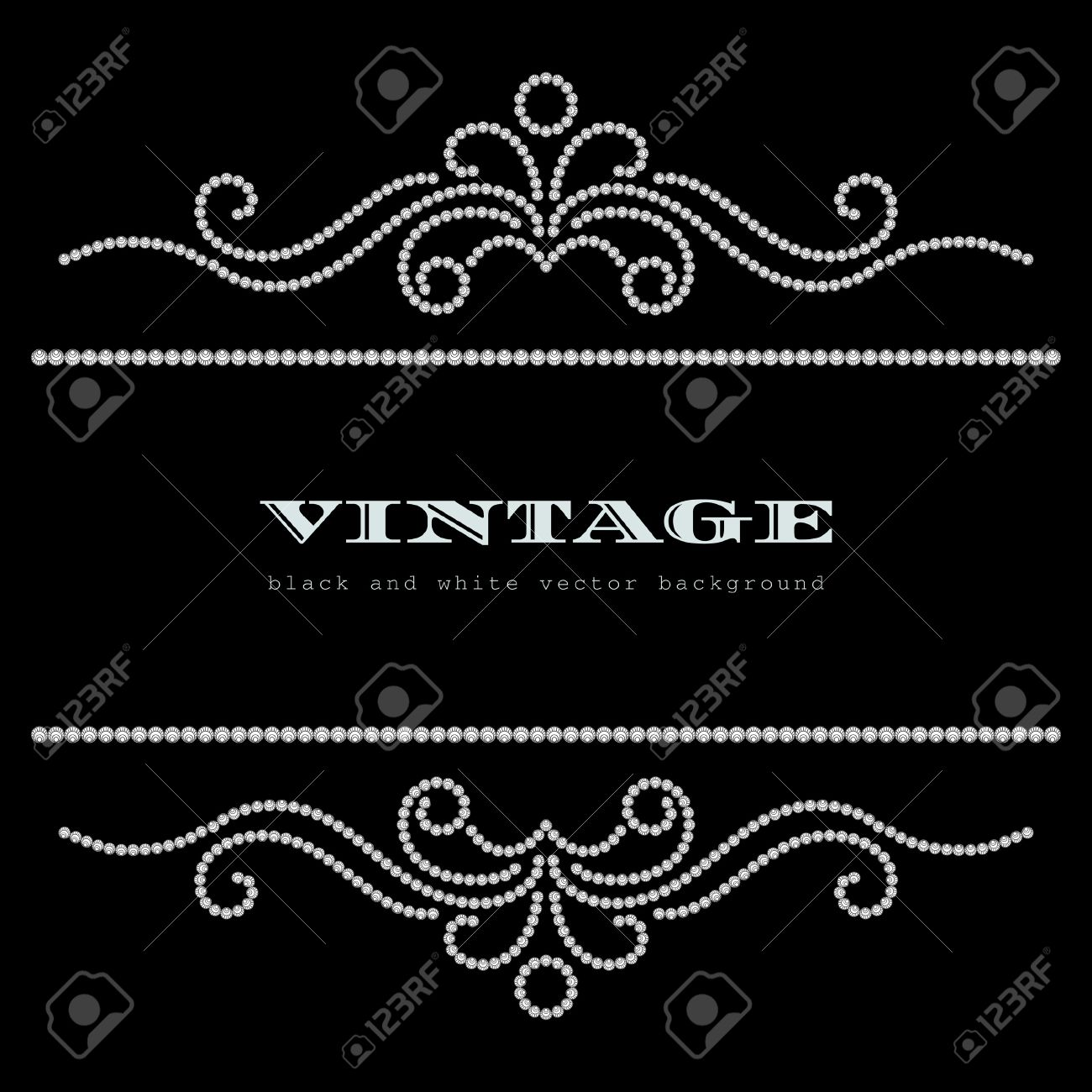 Black and white vintage jewelry background Stock Vector - 20230907