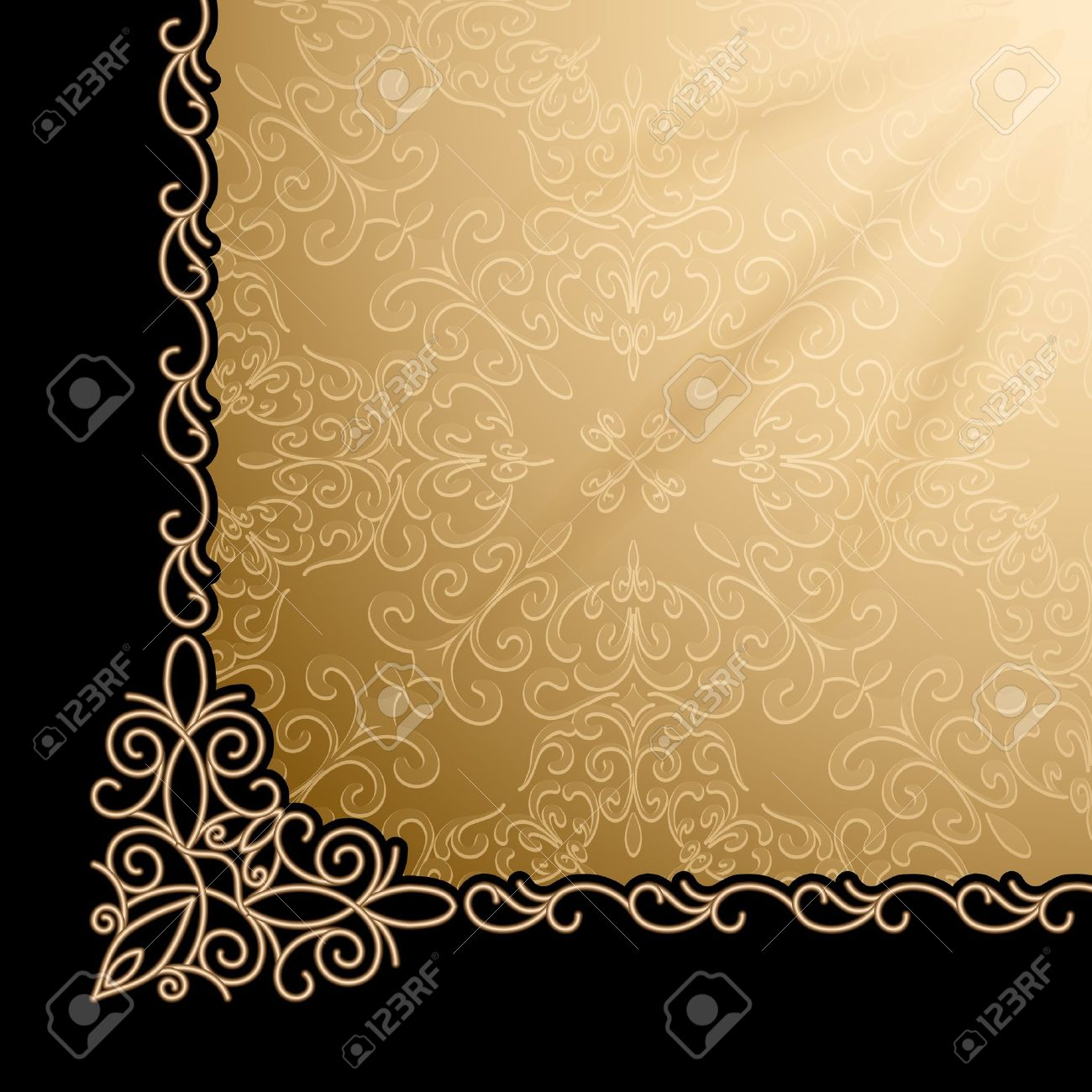Vintage Gold Background Corner Design Element Royalty Free Cliparts