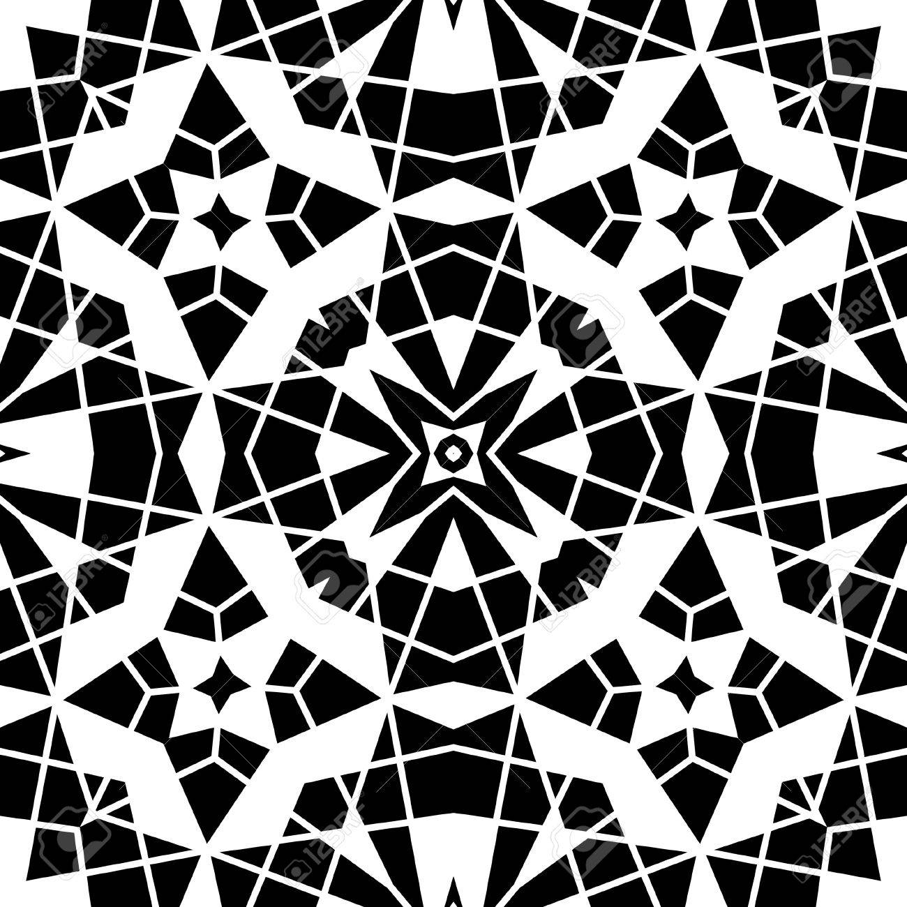 Black and white lace, geometric seamless pattern Stock Vector - 21587290