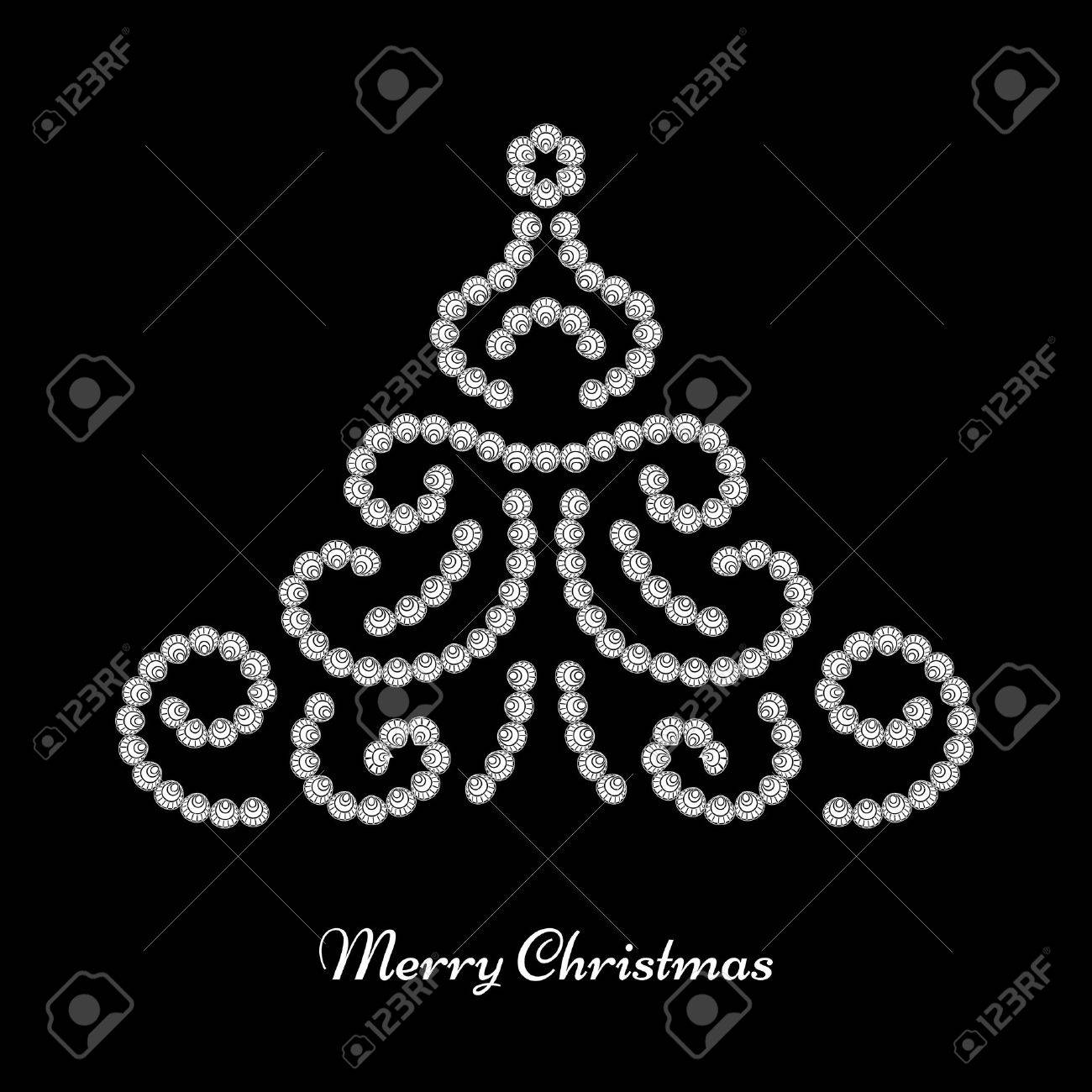 Dotted Jewelry Christmas Tree On Black Background Royalty Free ...