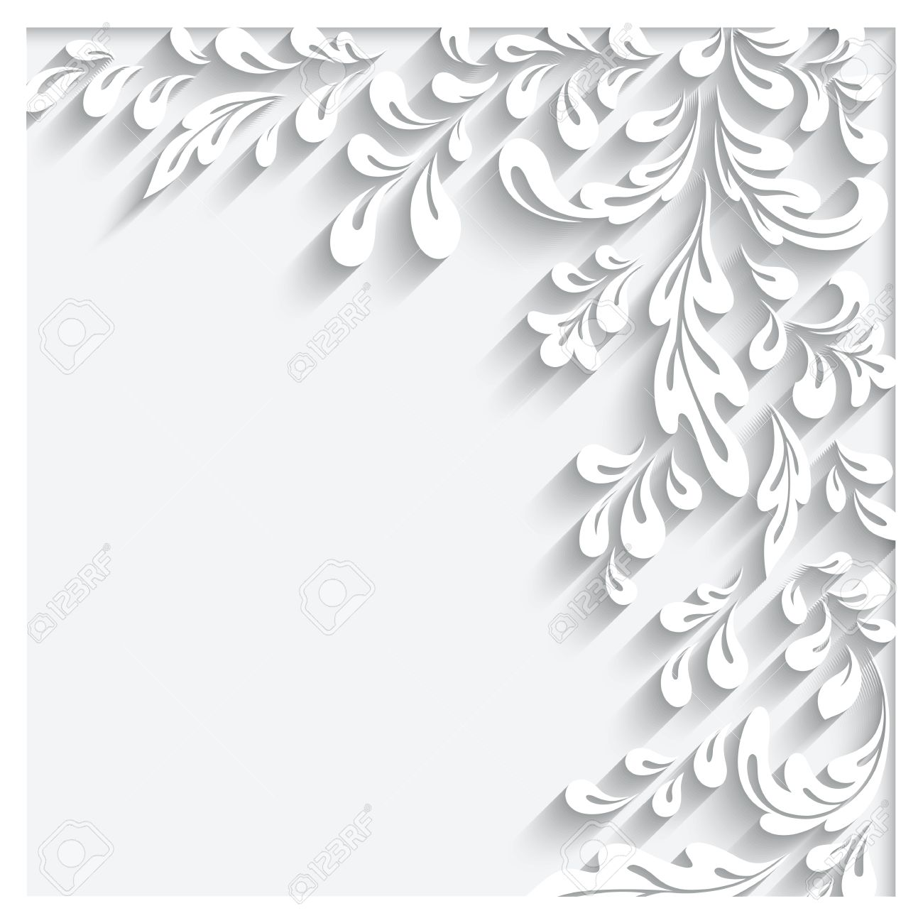 Abstract White Floral Background With Paper Swirls Royalty Free