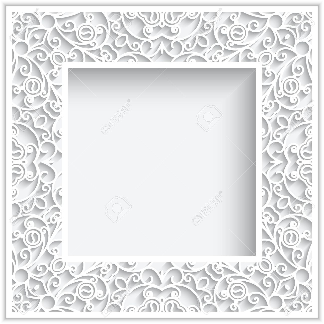 Abstract Square Frame With Paper Swirls, Ornamental White Background ...