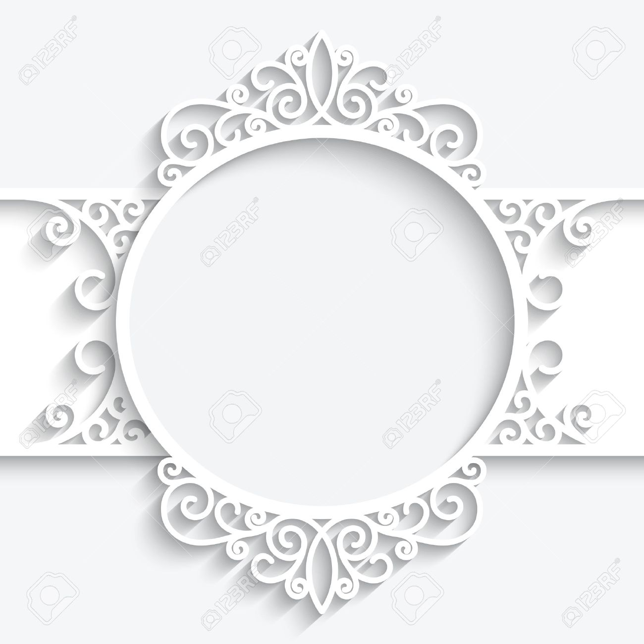 Paper Frame With Shadow, Swirly Ornamental Label On White Background ...