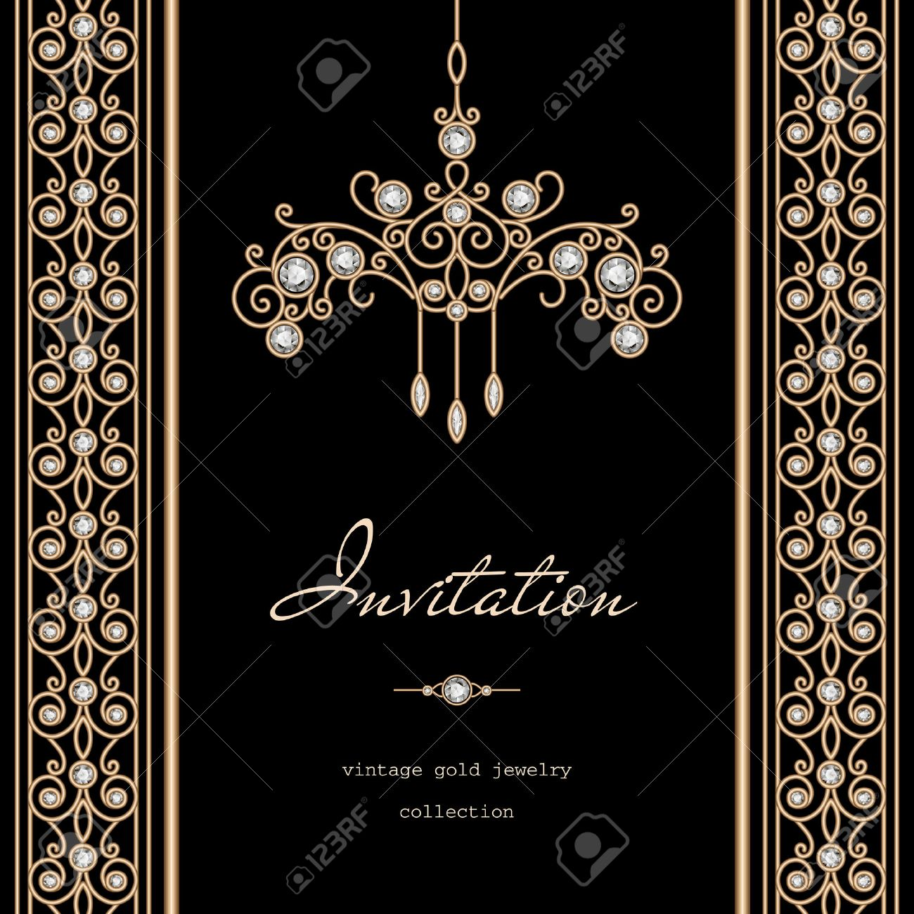 Vintage gold frame invitation template with jewelry borders vector vintage gold frame invitation template with jewelry borders on black background stopboris Gallery