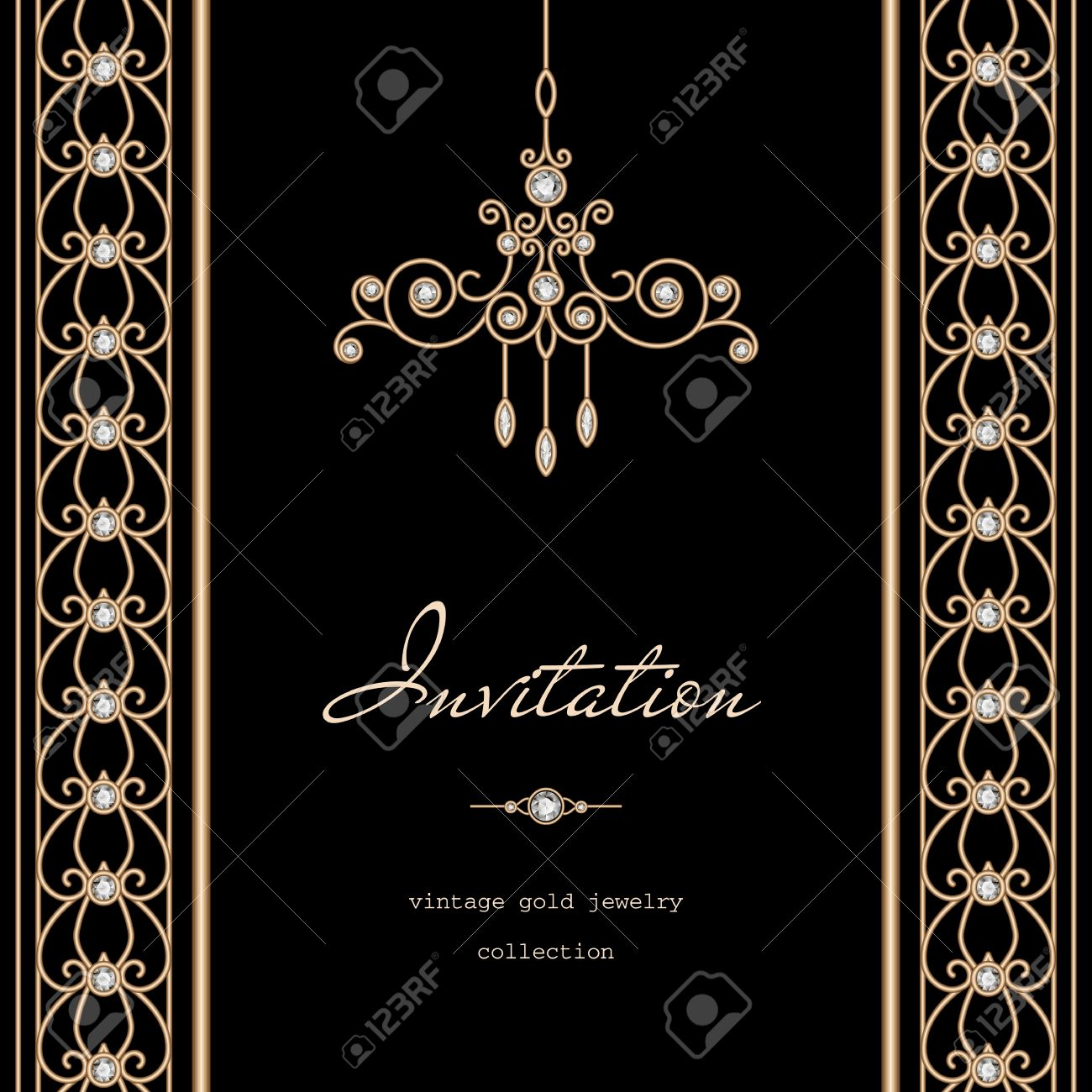 Vintage Gold Frame Invitation Template With Jewelry Borders