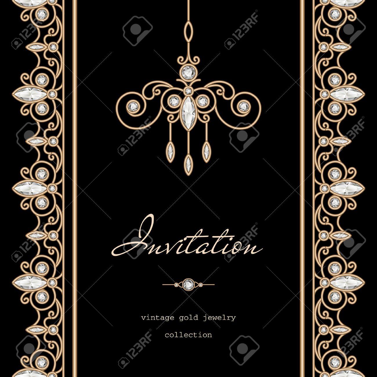 Marco De Oro Vintage, Ahorre La Fecha, Plantilla De La Invitación ...