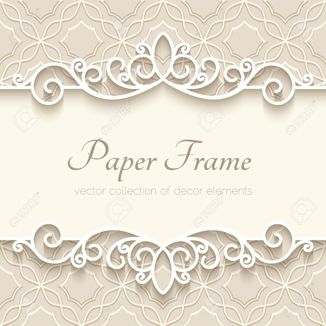 Vector   Vintage Background With Paper Border Decoration, Ornamental Frame  Template