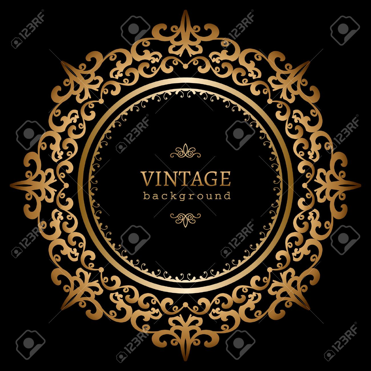 2a11fc831cf9 Vintage Gold Circle Frame On Black Background Royalty Free Cliparts ...