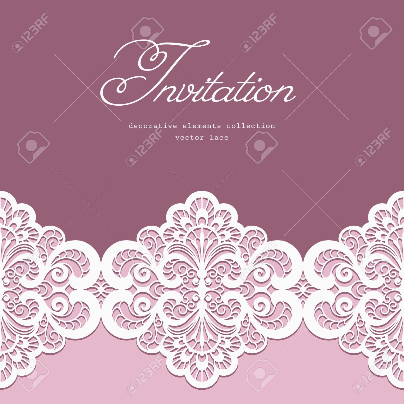Elegant Greeting Card Or Wedding Invitation Template With Lace