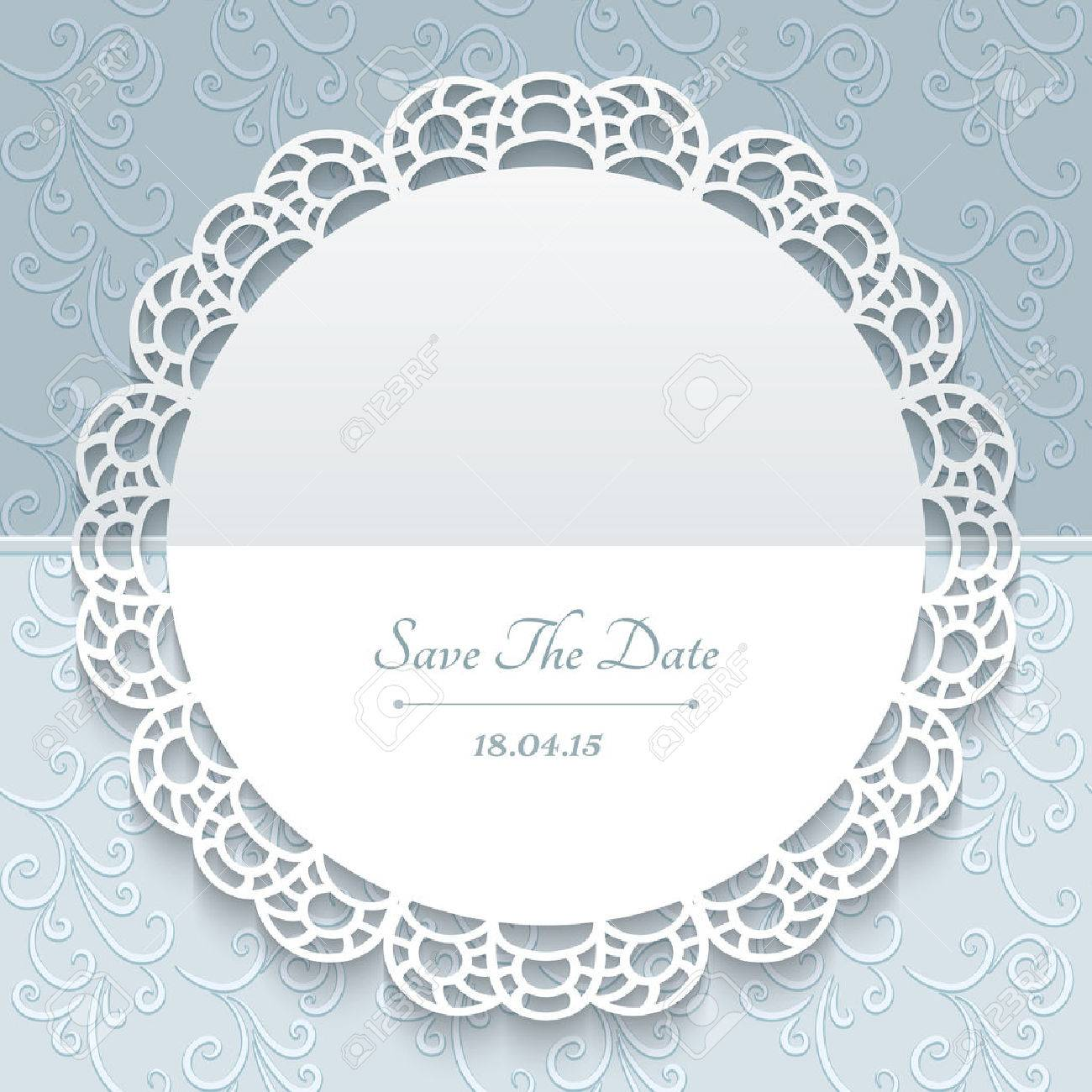 Greeting Or Save The Date Card Wedding Invitation Lace Doily