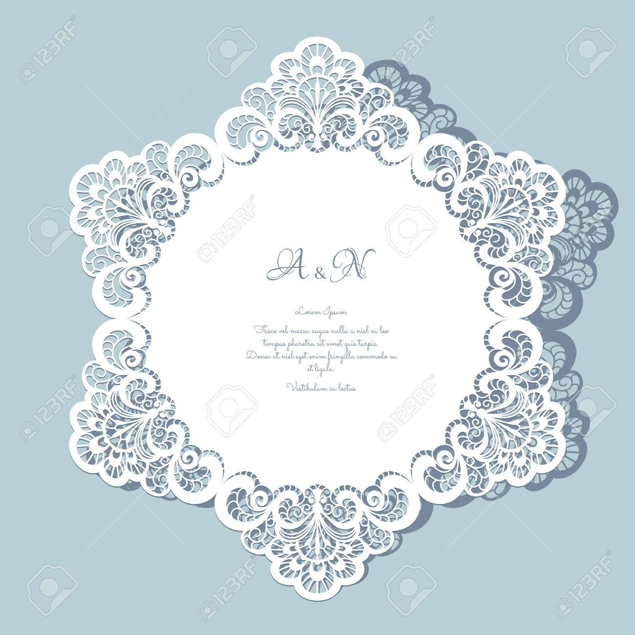 Round Paper Lace Doily, Greeting Card, Save The Date Or Wedding ...