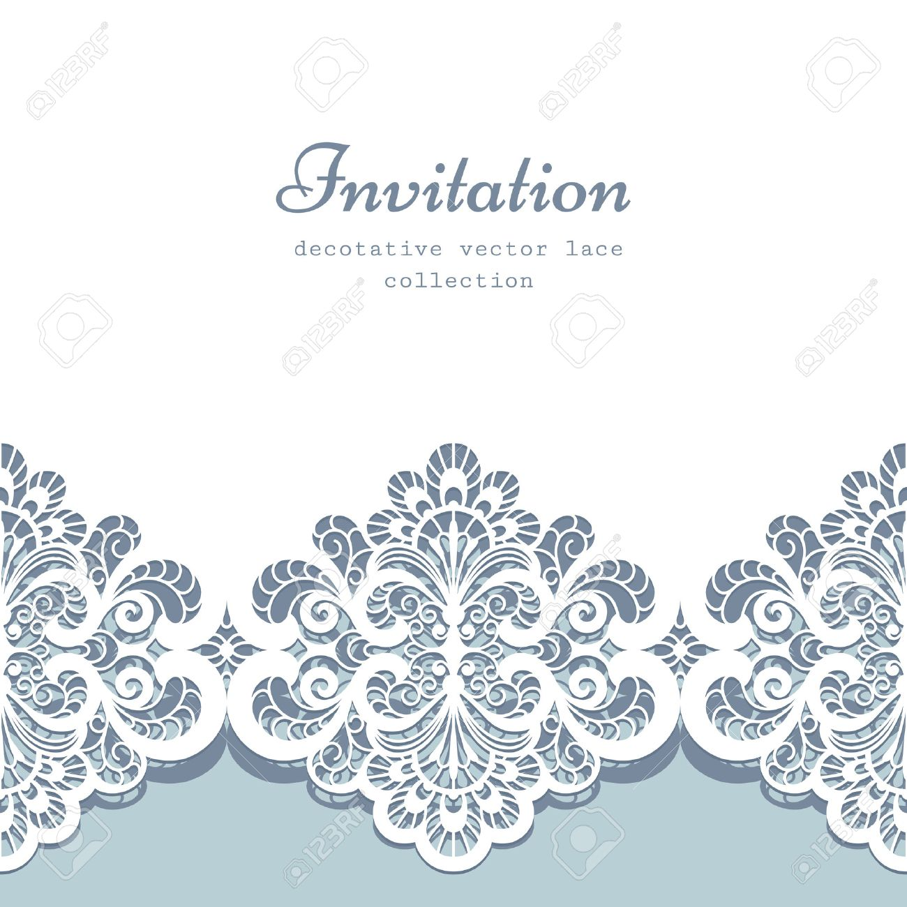 Elegant Greeting Card Or Wedding Invitation Template With Lace ...