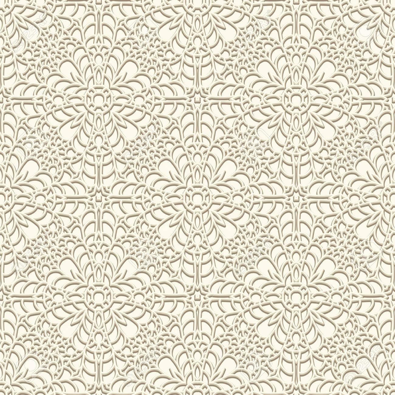 Vintage Spitzen Hintergrund Häkeln Ornament Nahtlose Muster In ...