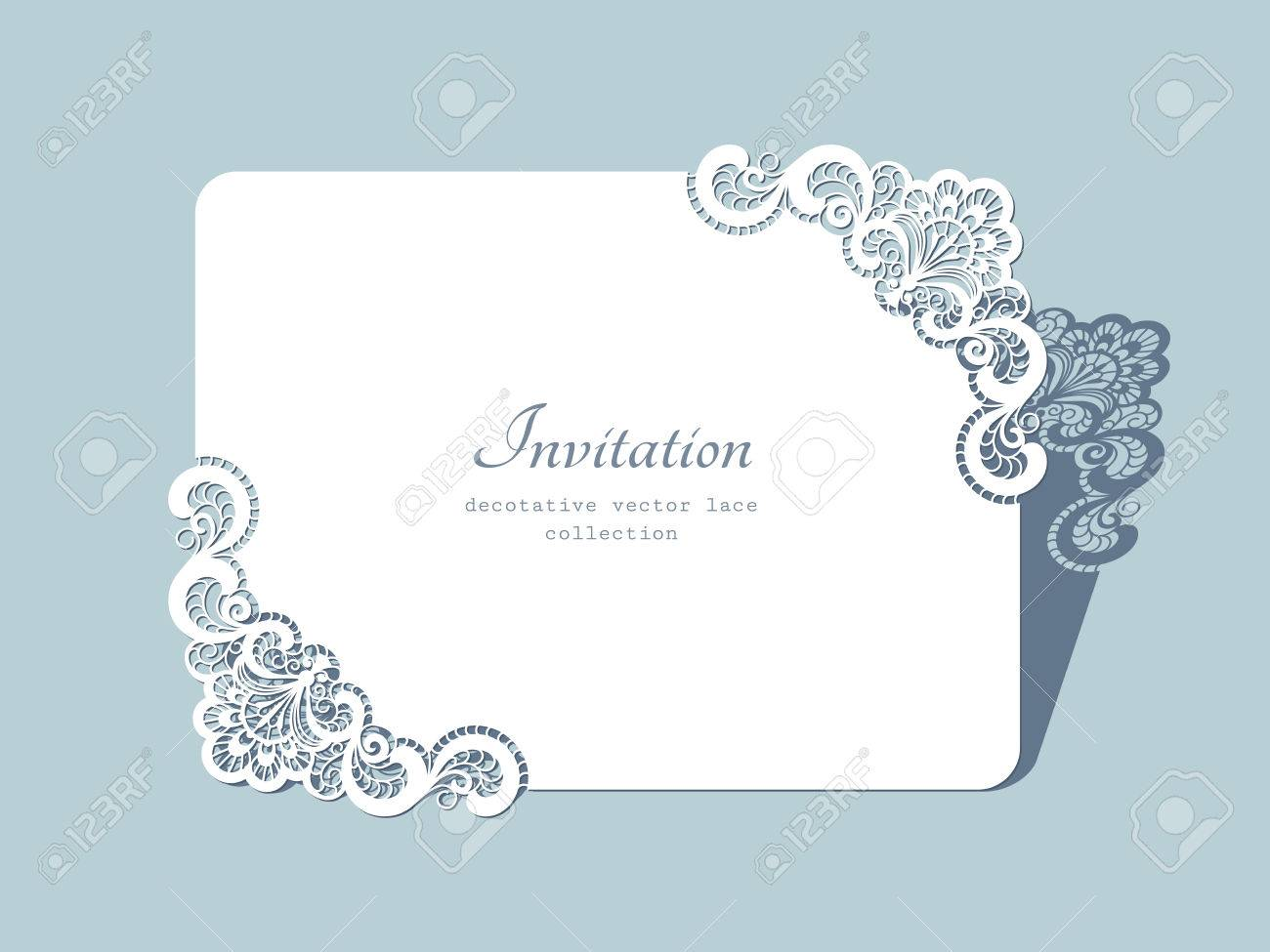 Rectangle paper frame with lace corners lacy doily greeting card banco de imagens rectangle paper frame with lace corners lacy doily greeting card or wedding invitation template stopboris Image collections