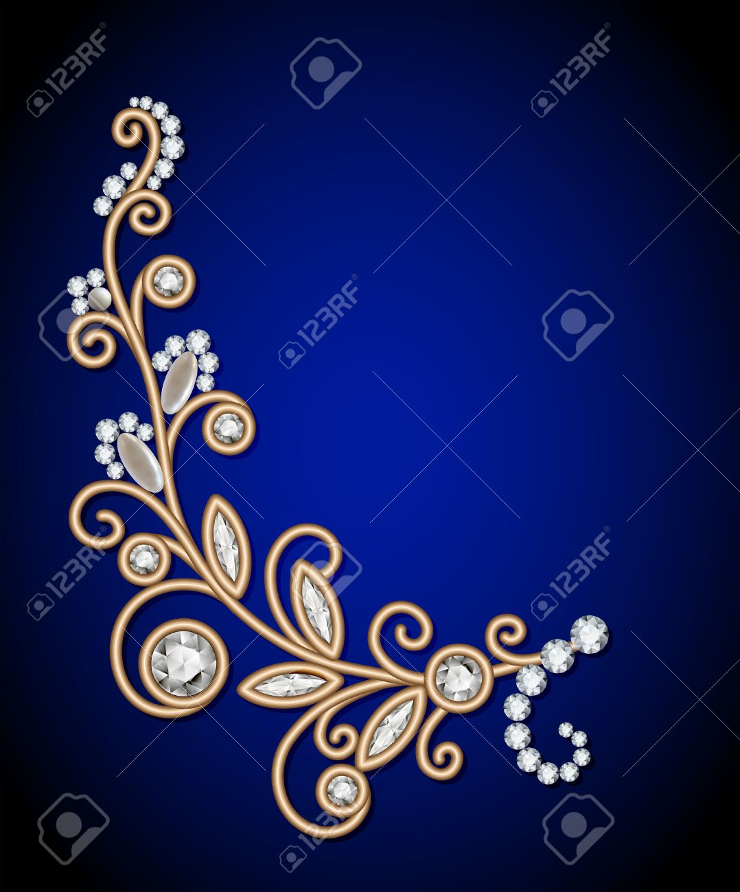 Gold jewelry background with diamond sprig, jewellery floral decoration, elegant greeting card or invitation template - 40701769
