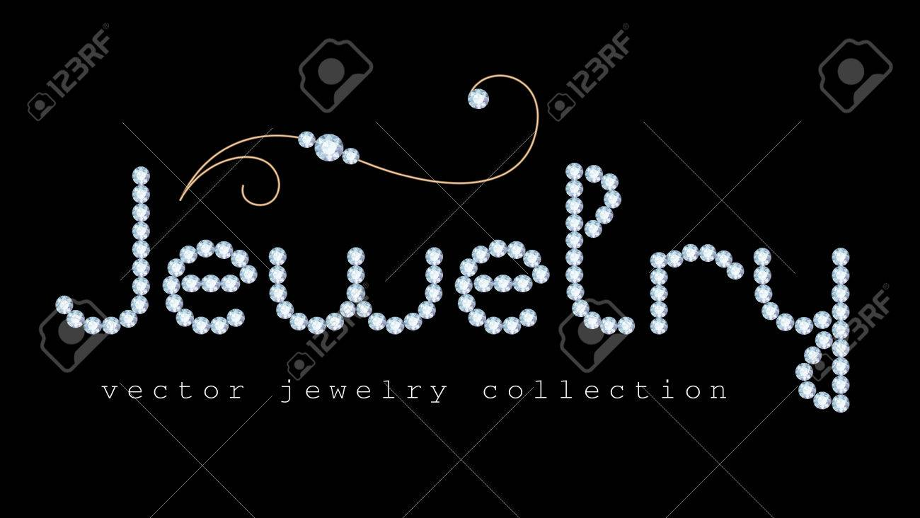 Banner design for jewellery - Jewelry Banner With Diamond Jewelry Letters And Gold Jewellery Swirly Decoration On Black Stock Vector