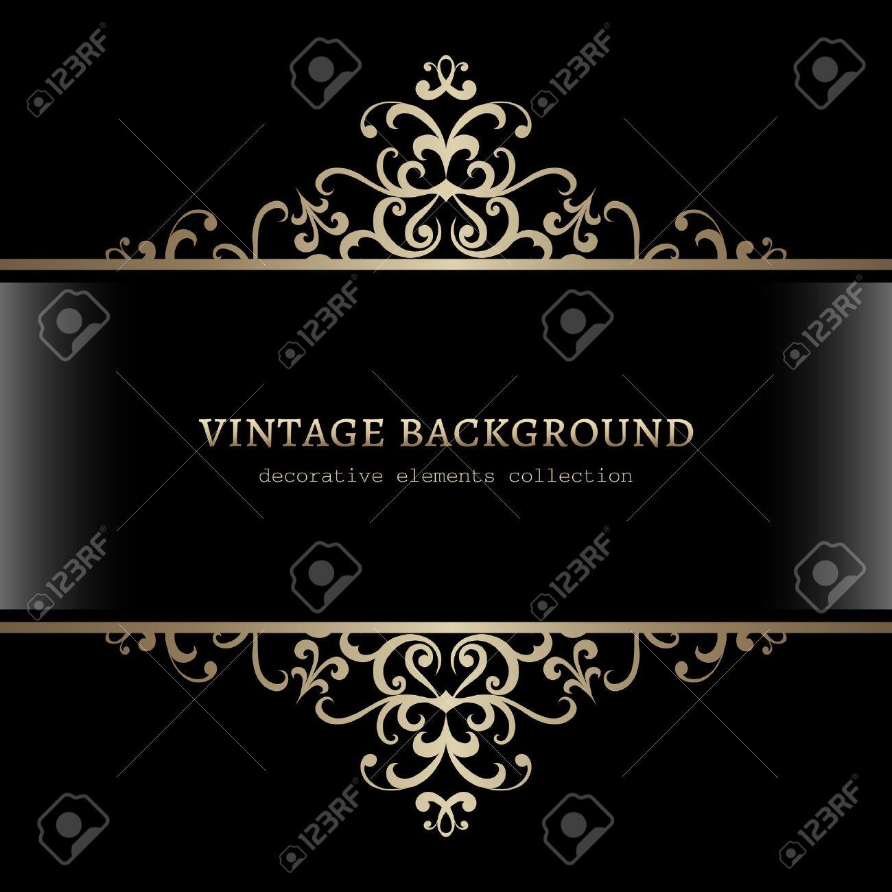 Vintage gold decoration on black background, divider, header, ornamental frame - 42847580