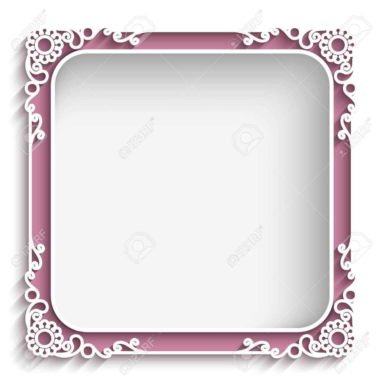 Abstract square lace frame with paper swirls, ornamental background - 42847593