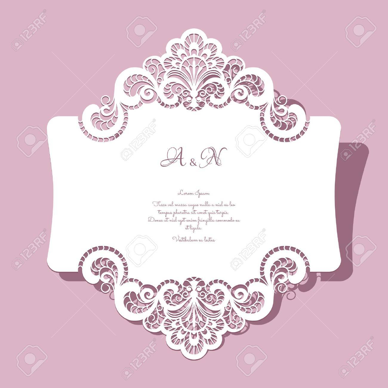 Elegant lace greeting card, wedding invitation or announcement template - 43127970