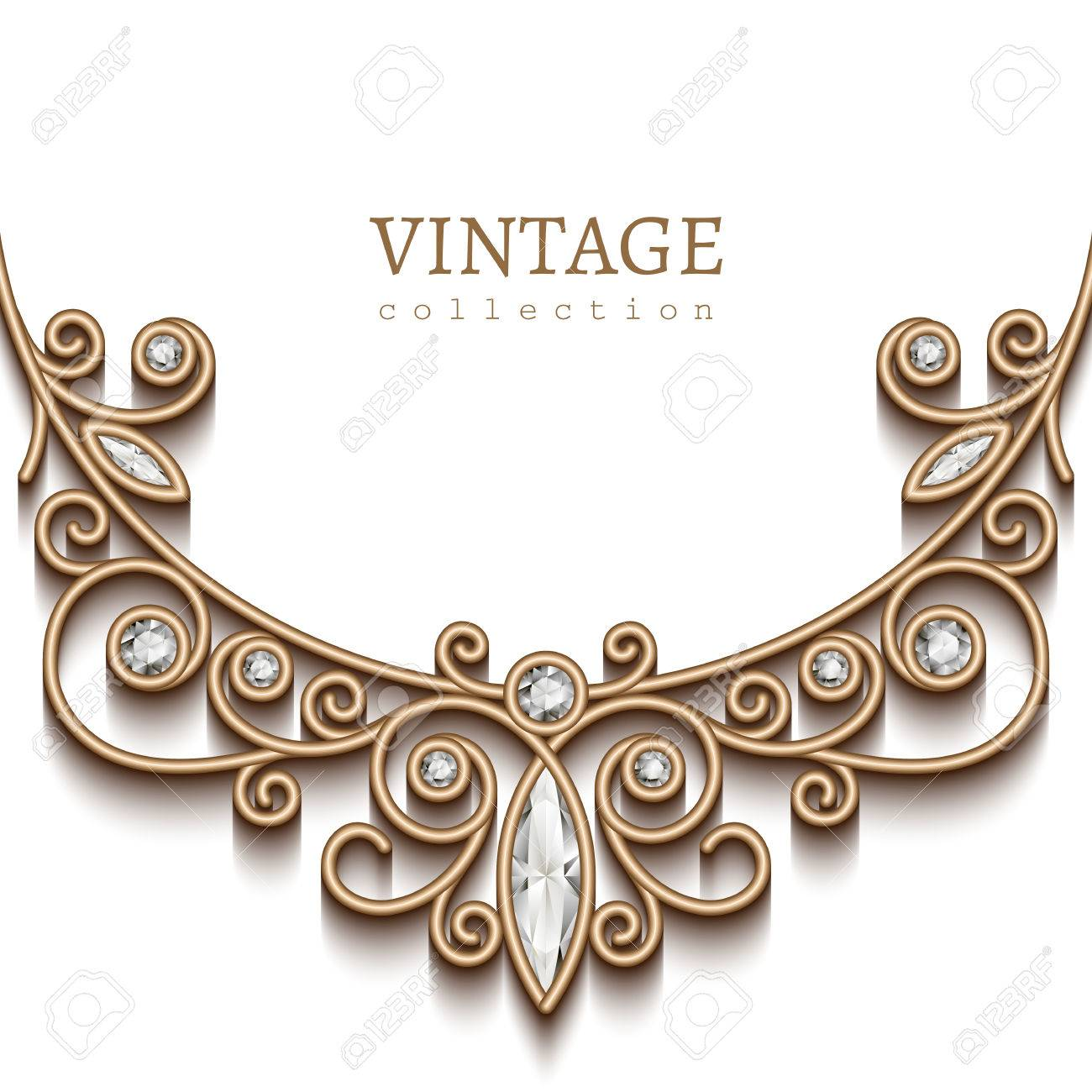 Vintage background with gold vignette on white background, jewellery decoration, filigree diamond necklace, elegant greeting card or invitation template - 43127987