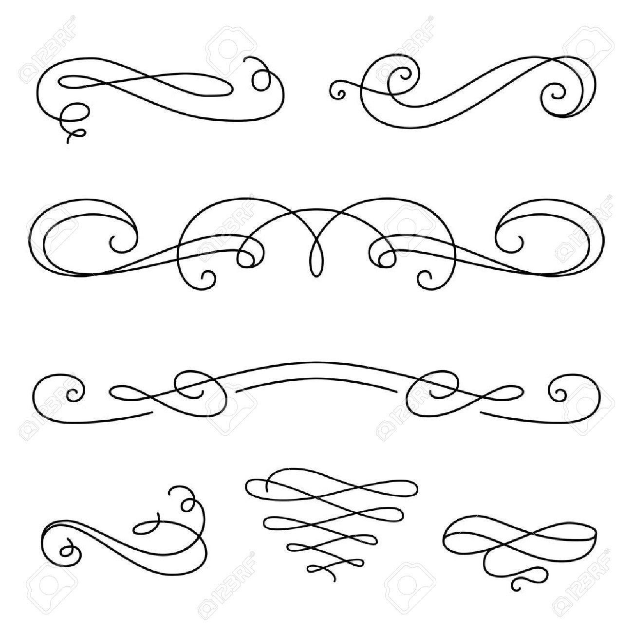 vintage vignettes page decoration template set of calligraphic